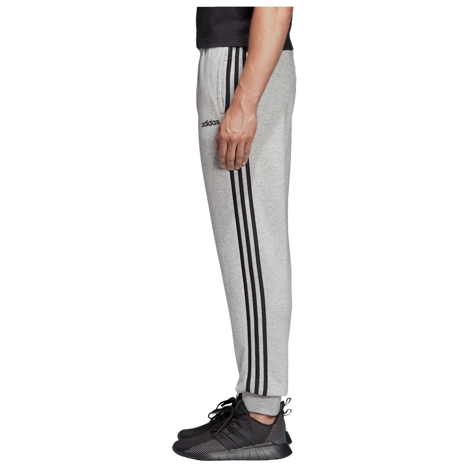 adidas Essentials 3 Streifen Tapered Cuffed Hose Trainingsbroeken Medium Grey Heather Black MGH Solid Grey | S