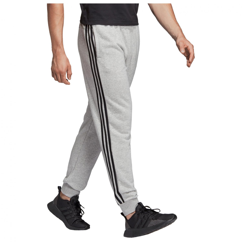 adidas Essentials 3 Streifen Tapered Cuffed Hose Trainingshose Medium Grey Heather Black MGH Solid Grey | M
