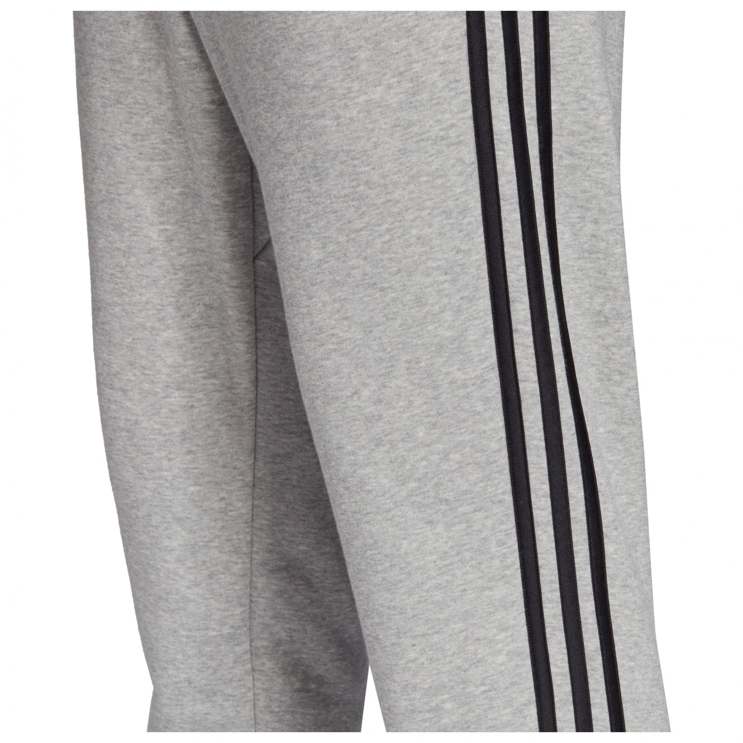 adidas Essentials 3 Streifen Tapered Cuffed Hose Trainingshose Medium Grey Heather Black MGH Solid Grey | M