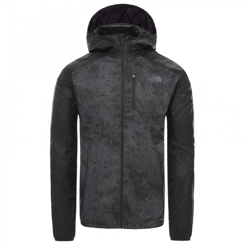 The North Face Ambition Wind Jacket Windjacke Asphalt Grey Grunge Print TNF Black | XXL