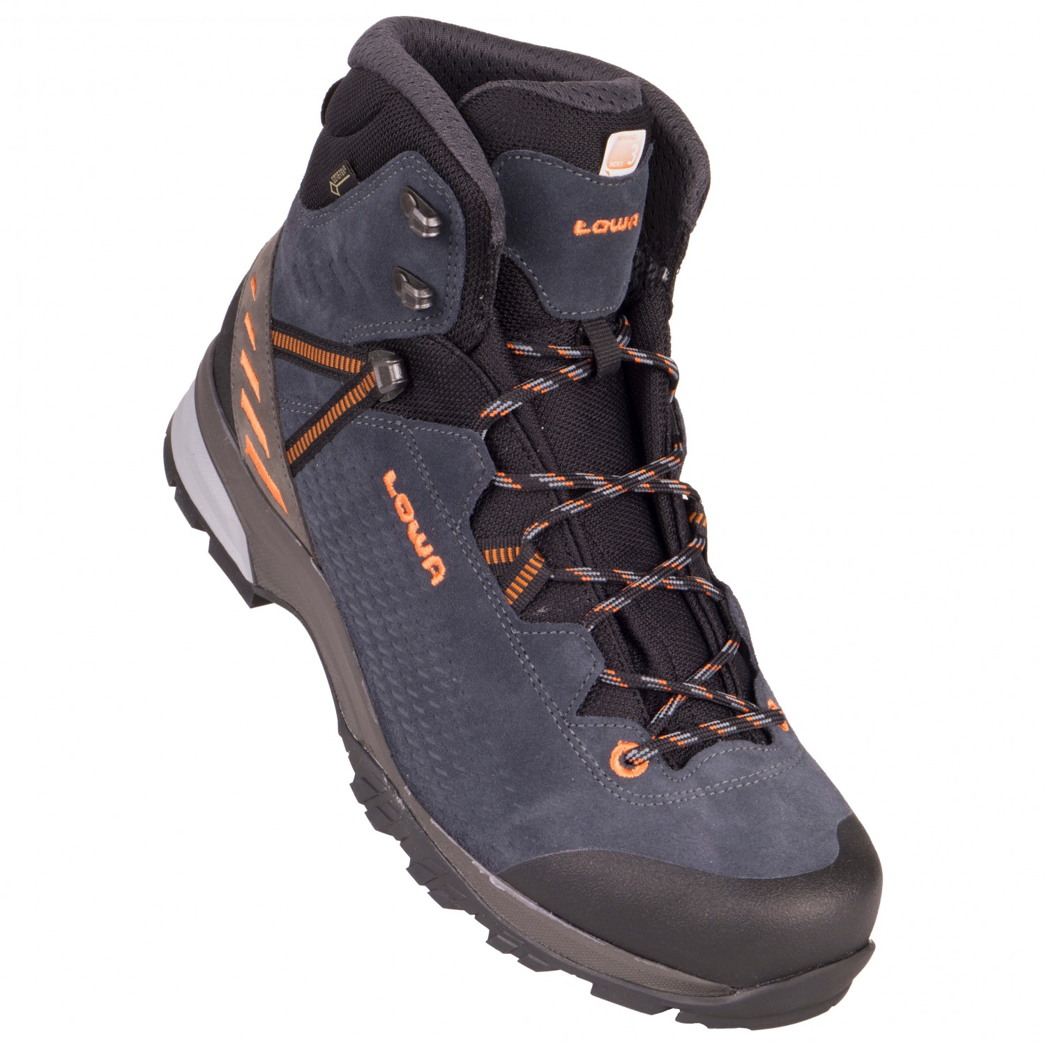 LowaARCO GTX MID - Walking boots - navy/orange