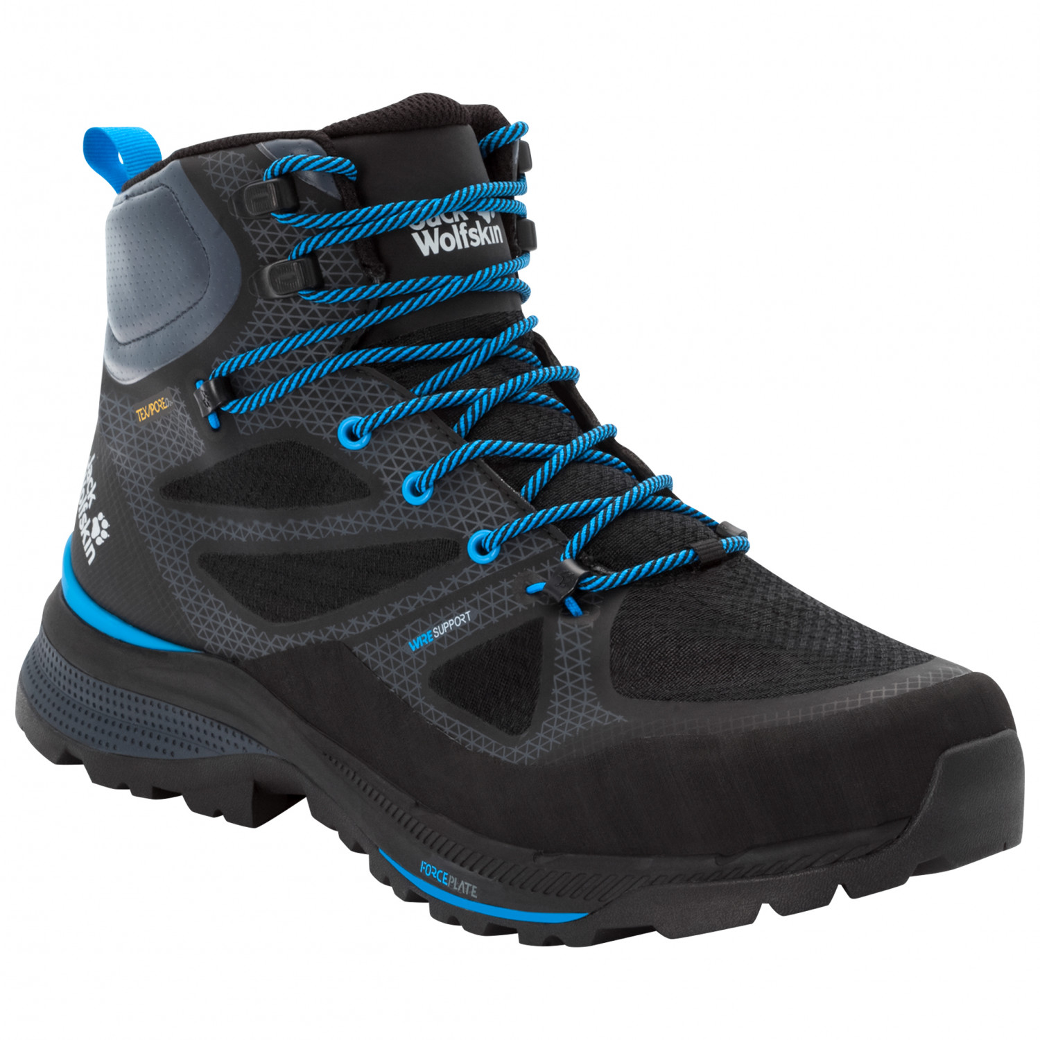 Jack Wolfskin Force Striker Texapore Mid Wanderschuhe Black Blue | 7,5 (UK)