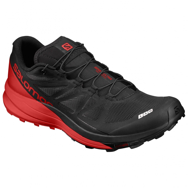 Salomon S/LAB SENSE ULTRA - Trail running shoes - black/racing red/white