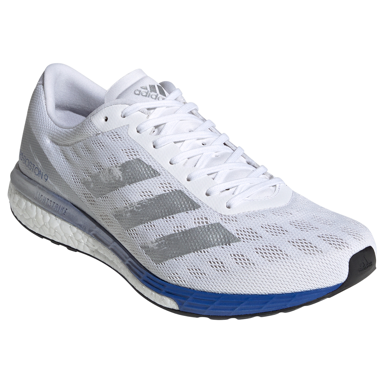 adidas - Adizero Boston 9 - Running shoes - Ftwr White / Silver Metallic / Team Royal Blue | 8 (UK)