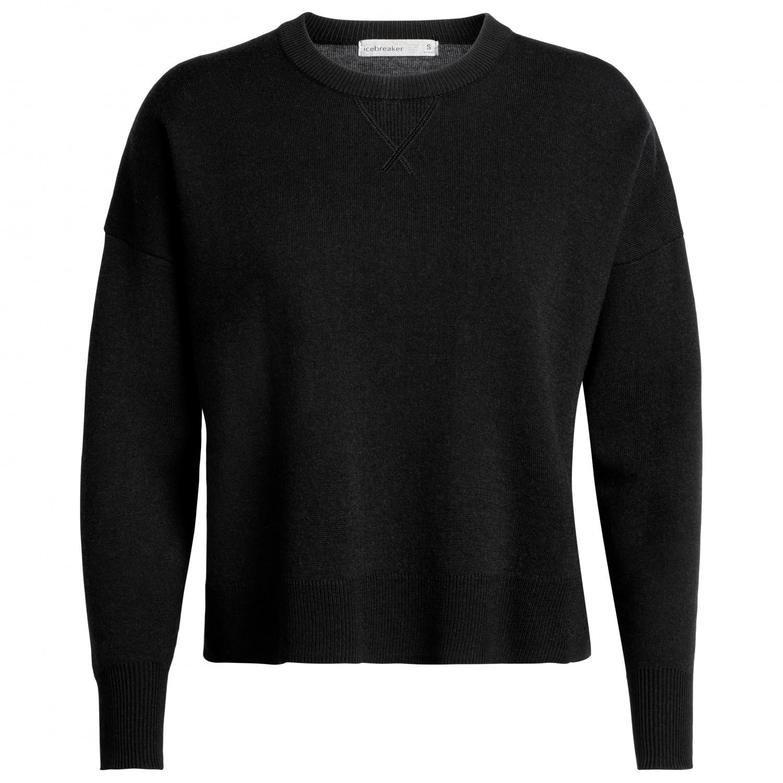 Icebreaker Women's Carrigan Reversible Sweater Sweatshirt Merino sweatere Black | M