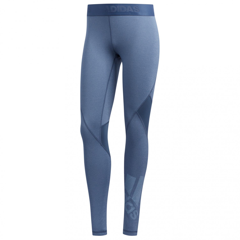 adidas Women's Alphaskin Badge Of Sport Tight Leggings Tech Ink Heather Glow Blue | XS