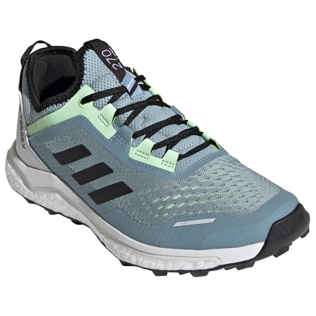 adidas - Women's Terrex Agravic Flow - Chaussures de trail - Ash Grey /  Core Black / Glow Green | 4 (UK)
