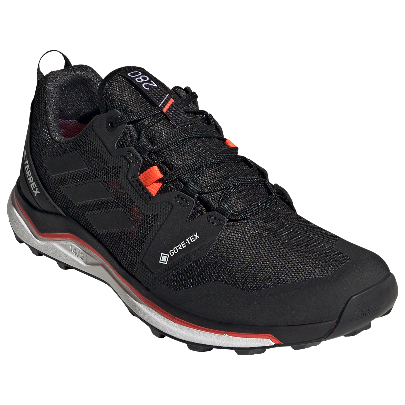 adidas - Women's Terrex Agravic GTX - Trail running shoes - Core Black / Cry White / Solar Red | 3,5 (UK)