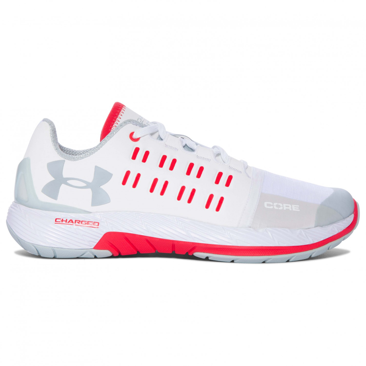 6b7489d0 Under Armour - Women's UA Charged Core - Fitness shoes - White /  Pomegranate | 7,5 (US)