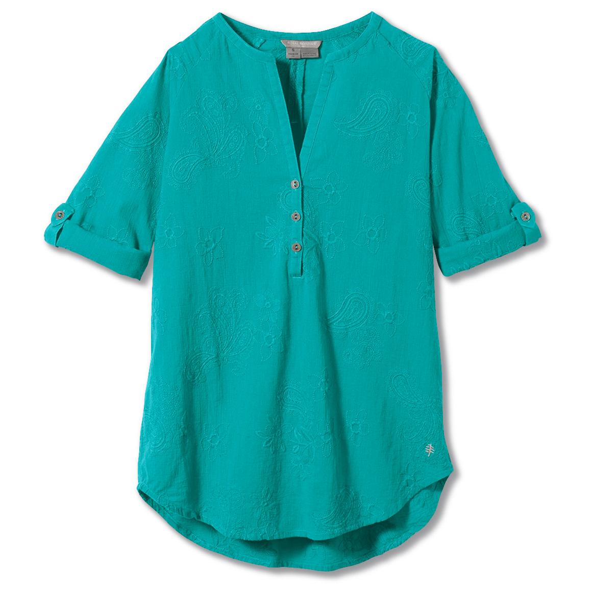 royal robbins - women's oasis tunic ii 3/4 sleeve - bluse - turquoise   xs
