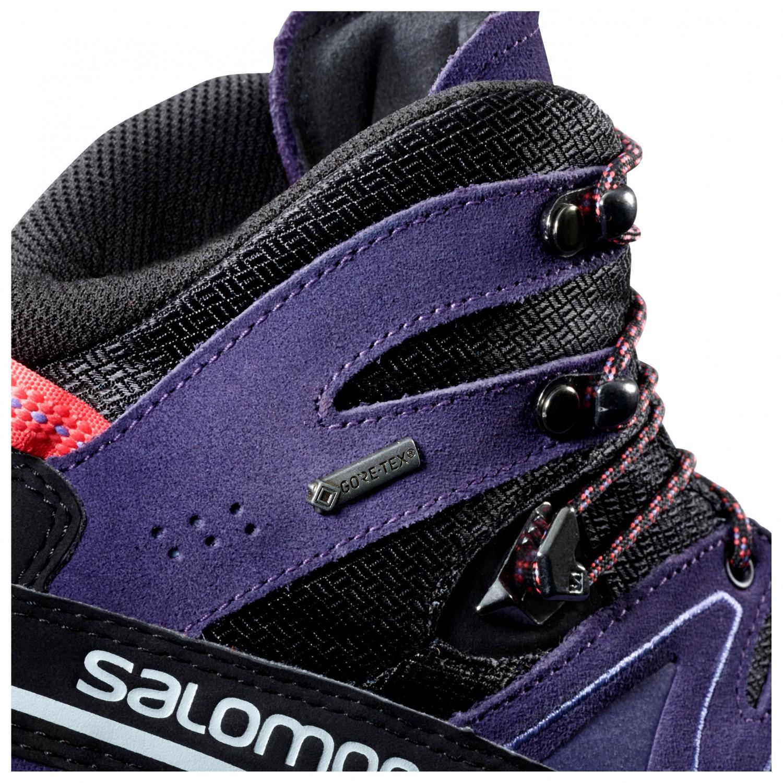 Salomon Women's X Alp Mid Leather GTX Bergschuhe Black Nightshade Grey Coral Punch | 4,5 (UK)