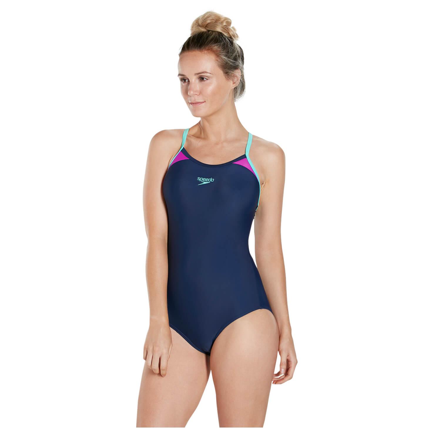 Grau Speedo Damen Speedo Passform Splice Schwimmbad Badeanzug