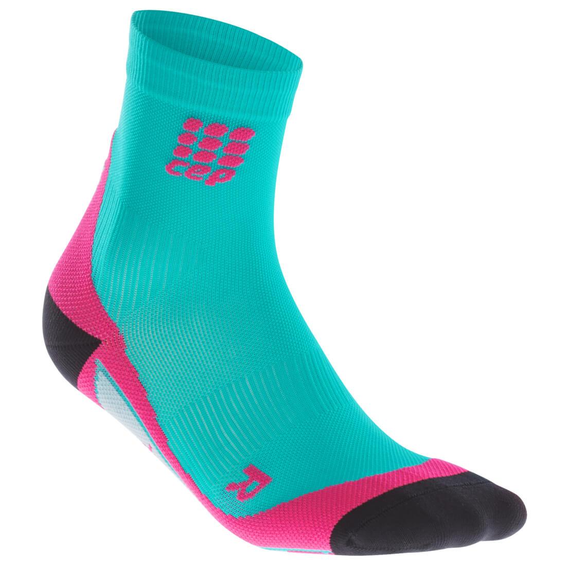 CEP - Women's Short Socks - Kompressionssocken Lagoon / Pink