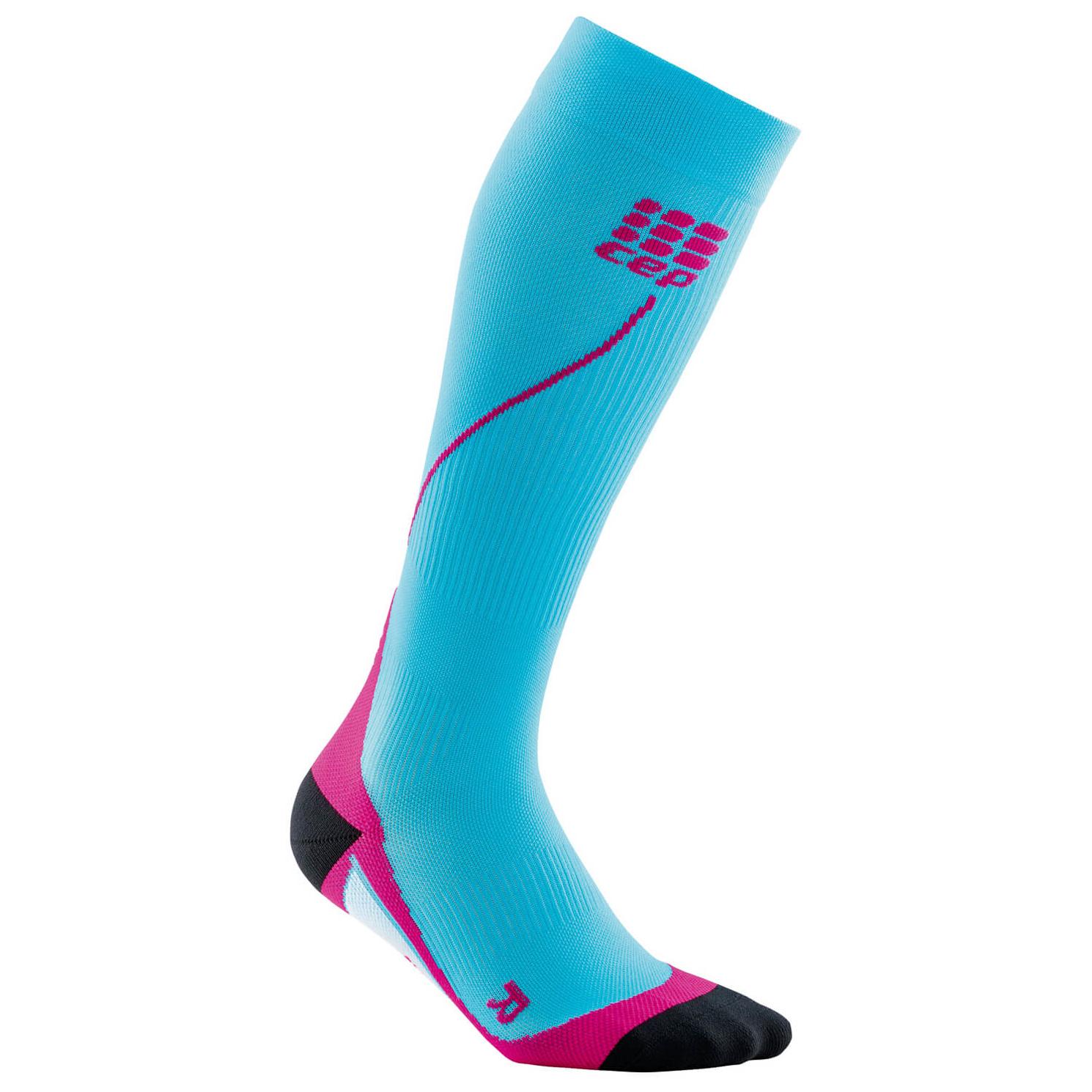 CEP - Women's Run Socks 20 - Kompressionssocken Hawaii Blue / Pink