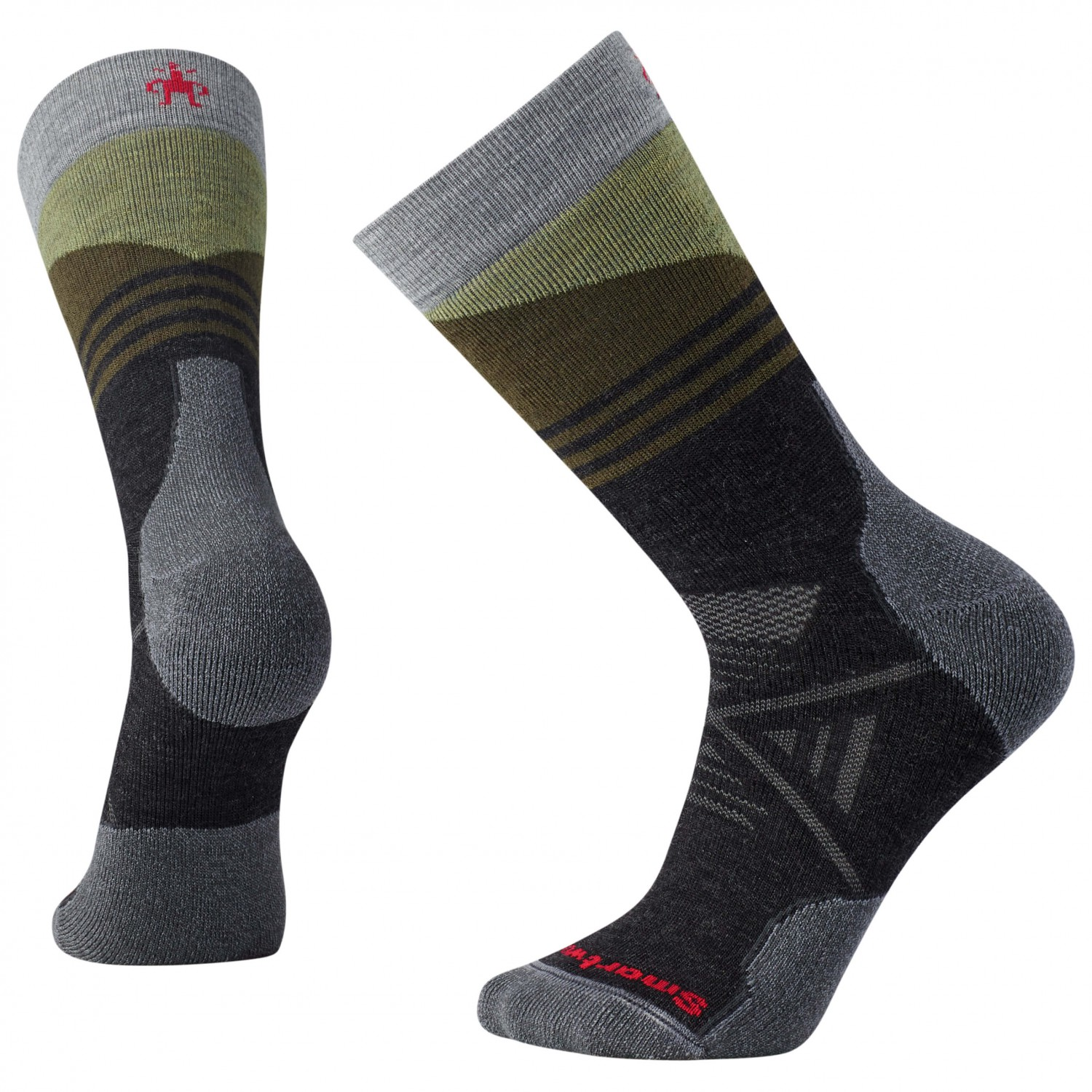 Smartwool - PhD Outdoor Medium Pattern Crew - Trekkingsocken Charcoal