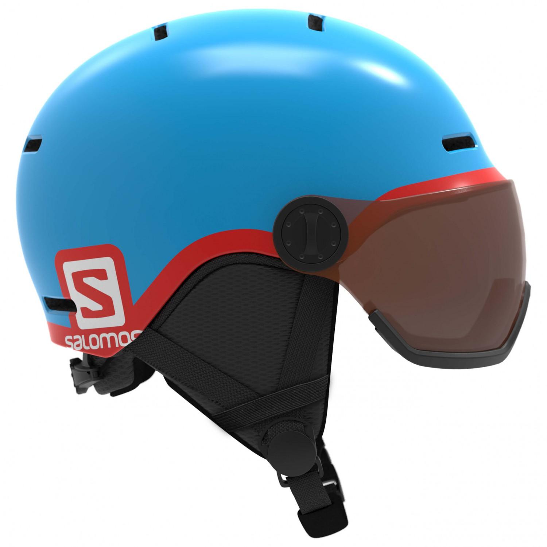 57d0320905 Salomon - Kid's Grom Visor - Ski helmet - Blue | S - Flash Tonic Orange S2  (VLT 22%)