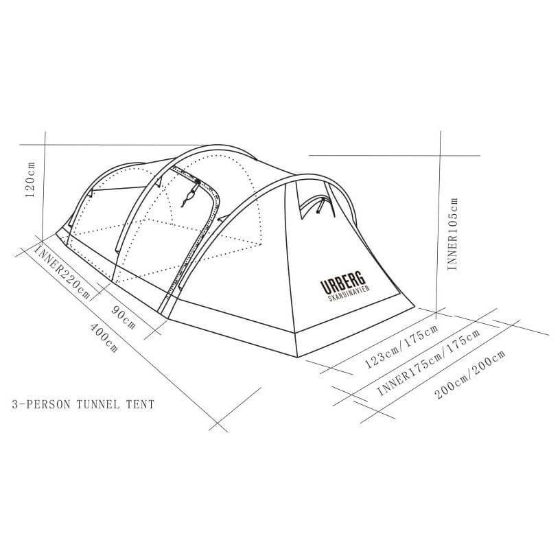 ... Urberg - Rapadalen 3-Person Tunnel Tent - 3-man tent ...  sc 1 th 225 & Urberg Rapadalen 3-Person Tunnel Tent - 3-Man Tent | Buy online ...