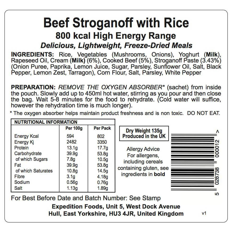 expedition foods beef stroganoff with rice high energy online kaufen. Black Bedroom Furniture Sets. Home Design Ideas