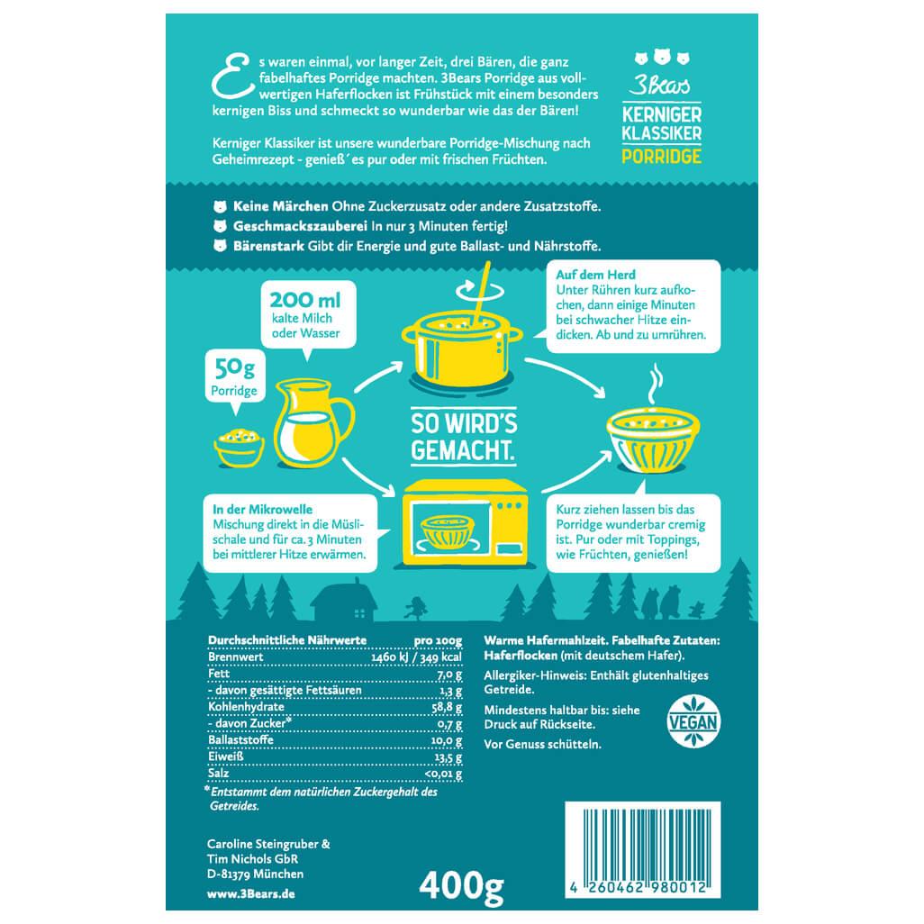 3bears kerniger klassiker porridge online kaufen. Black Bedroom Furniture Sets. Home Design Ideas