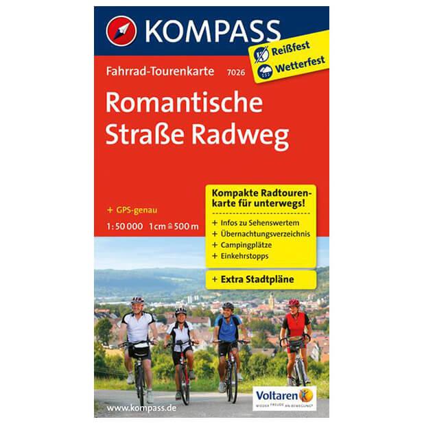 Romantische Straße Karte.Kompass Romantische Straße Radweg Cycling Map