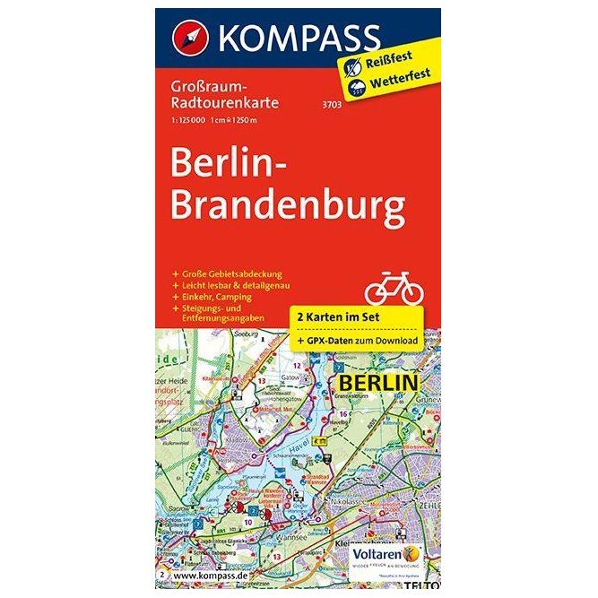 Karte Uk.Kompass Berlin Brandenburg Karte Cycling Map Karte Gefaltet Geklebt