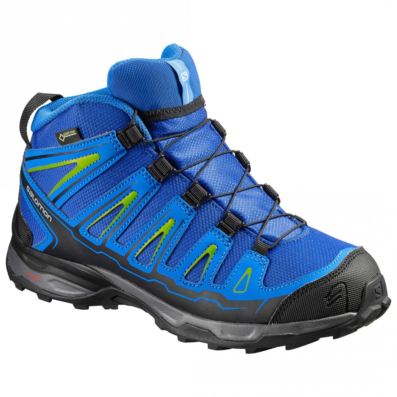 best sneakers 8823f 6314b Salomon - Kid's X-Ultra Mid GTX - Walking boots - Blue Yonder / Bright Blue  / Granny Green | 34 (EU)