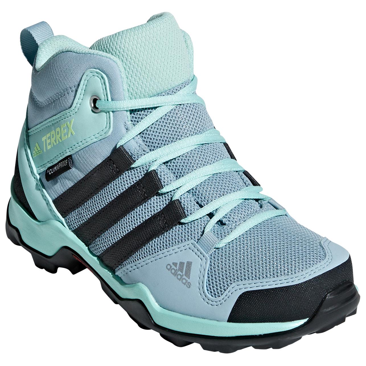 adidas Kid's Terrex AX2R Mid CP Chaussures de randonnée Ash Grey Carbon Clear Mint | 28 (EU)