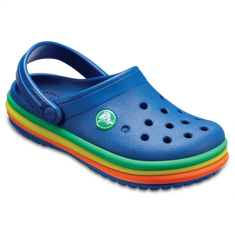 Crocs Kid's CB Rainbow Band Clog Sandaler Blue Jean | C4 (US)