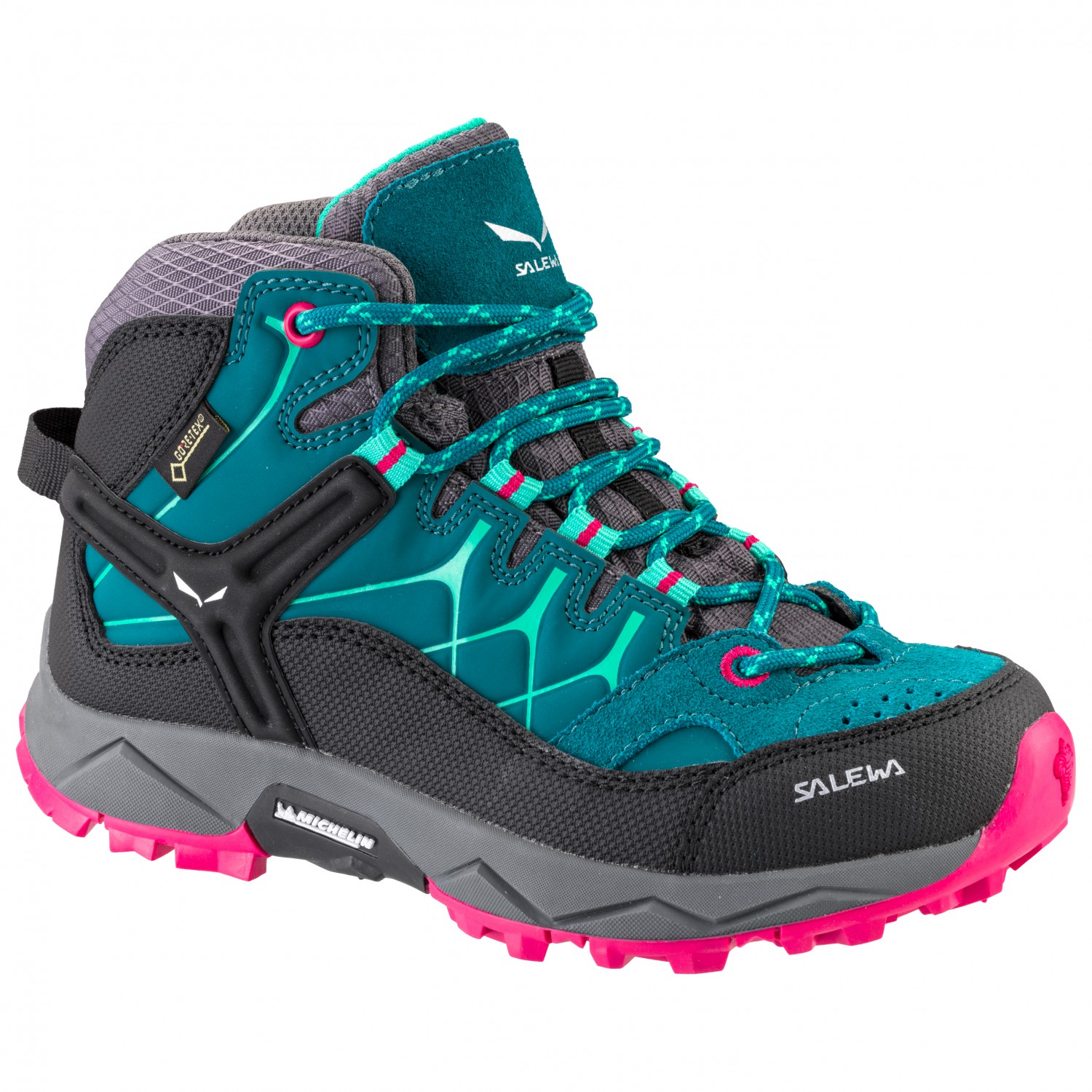 best authentic f9a4c 63445 Salewa - Kid's Alp Trainer Mid GTX - Wanderschuhe - Shaded Spruce / Rose  Red | 28 (EU)