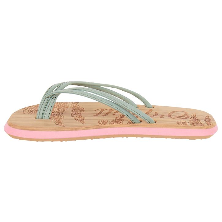 New Womens Oneill Orange 3 Strap Ditsy Synthetic Sandals Flip Flops Slip On