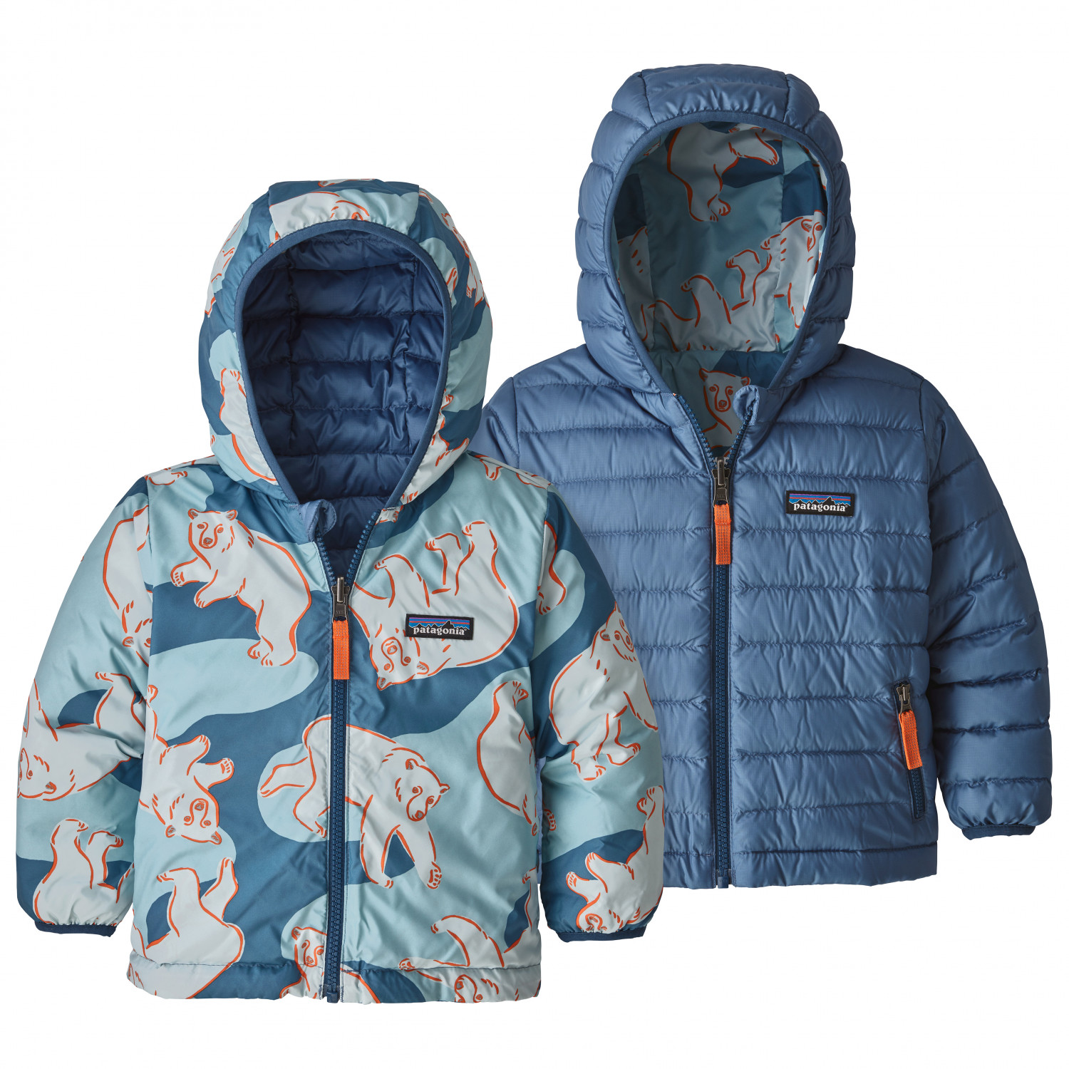 best sneakers 98466 a576e Patagonia - Baby Reversible Down Sweater Hoody - Giacca in piumino - Polar  Bears Play / Woolly Blue   2T (US)