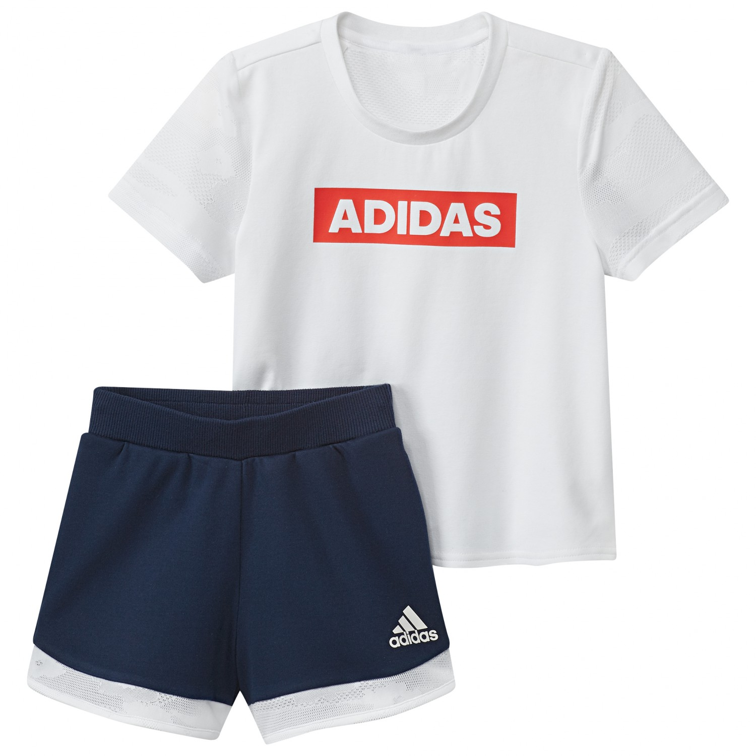 wide varieties fast delivery wholesale adidas - Kid's Little Girl S/S Tee Set - Funktionsshirt - White / Core Navy  | 104 (EU)