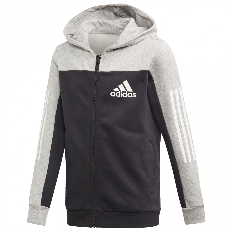 adidas Kid's Sport ID Fullzip Hooded Sweat à capuche Medium Grey Heather Black   128 (EU)