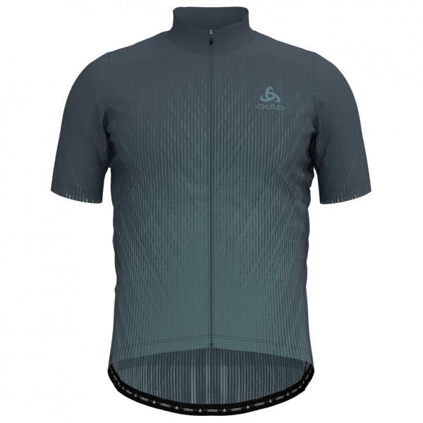 Odlo - Stand-Up Collar S/S Full Zip Element Print - Fietsshirt