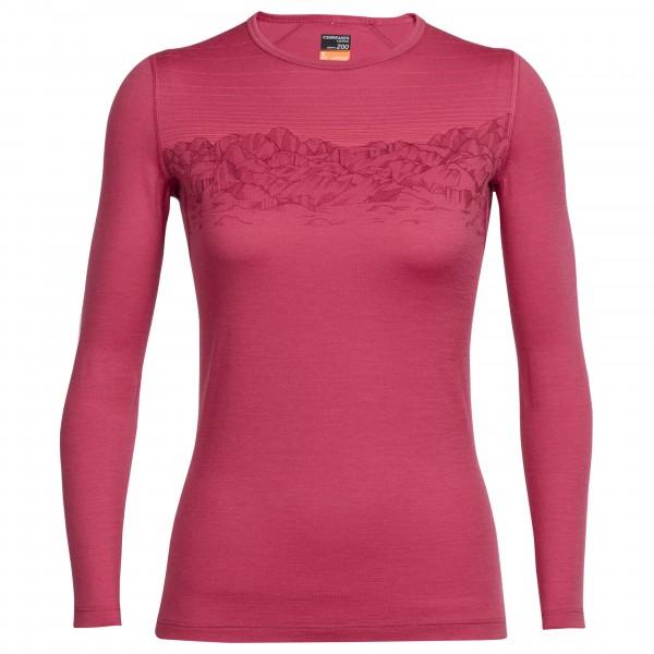 Icebreaker - Women's Oasis L/S Crewe Sky Sunset - Underkläder merinoull