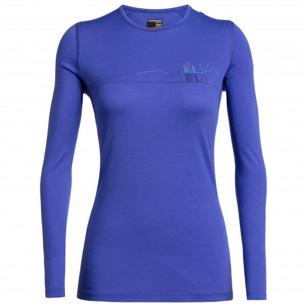 Icebreaker - Women's 200 Oasis L/S Crewe Skis In Snow - Merino undertøj