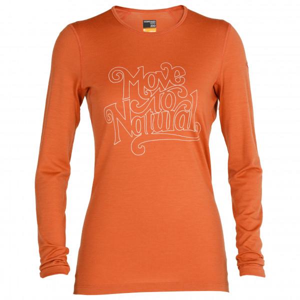 Icebreaker - Women's 200 Oasis L/S Crewe Move to Natural - T-shirt en laine mérinos