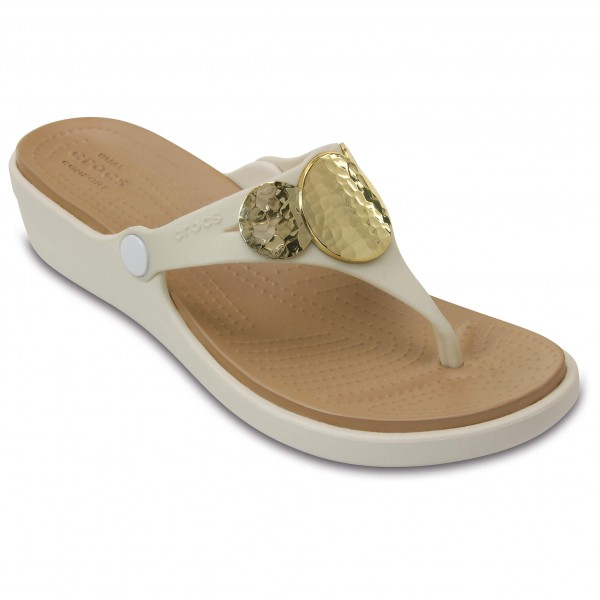 Crocs - Women's Sanrah Embellished Wedge Flip - Sandaler