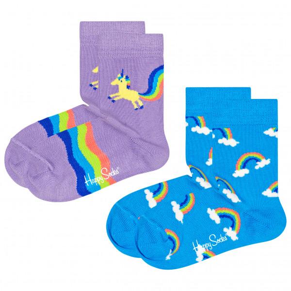 Kid's Unicorn & Rainbow Socks 2-Pack - Sports socks