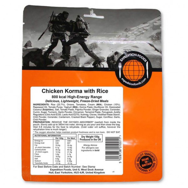 Expedition Foods - Chicken Korma With Rice (High Energy)
