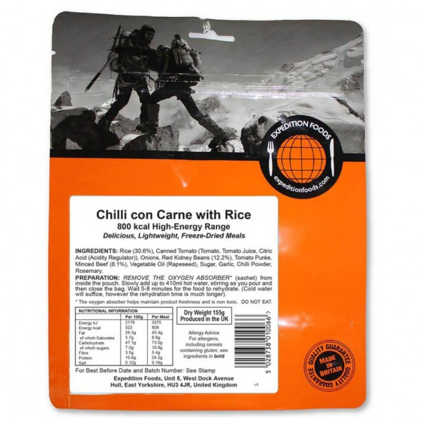 Expedition Foods - Chilli Con Carne With Rice (High Energy)