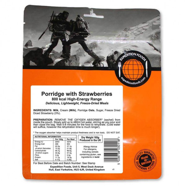 Expedition Foods - Porridge With Strawberries (High Energy)