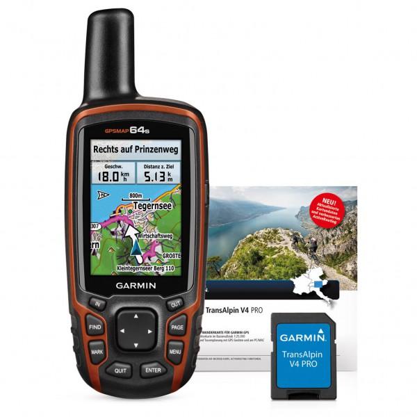 Garmin - GPSMap 64S + Transalpin V4 Pro Bundle MicroSD