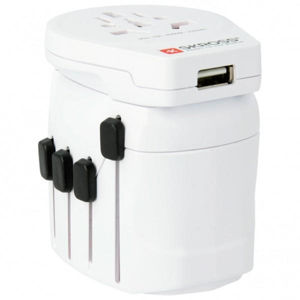 Skross - World Pro + USB Schuko - Pistokeadapteri
