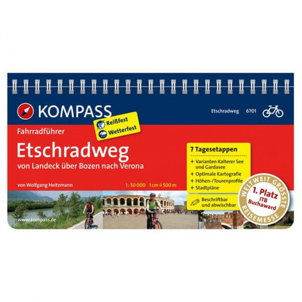 Kompass - Etschradweg, von Landeck über Bozen nach Verona - Sykkelguide