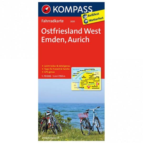 Kompass - Ostfriesland West - Mapa de rutas en bicicleta
