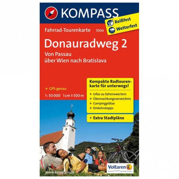 Kompass - Donauradweg 2, Passau über Wien nach Bratislava - Carta cicloturistica