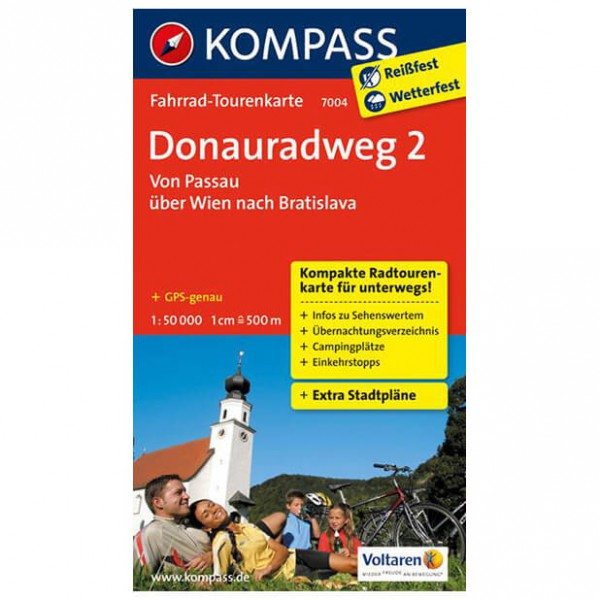 Kompass - Donauradweg 2, Passau über Wien nach Bratislava - Cycling map