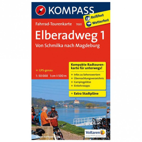 Kompass Elberadweg 1, Von Schmilka nach Magdeburg - Cykelkort køb online | Cycle maps
