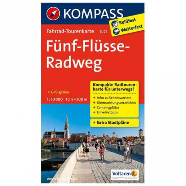 Kompass - Fünf-Flüsse-Radweg - Cykelkort